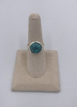 Sterling Silver Medium Round Turquoise Stone Ring Size 7