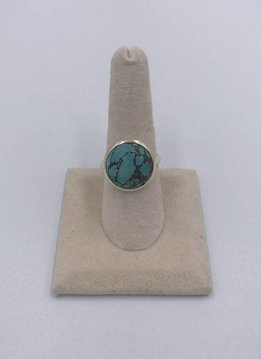 Sterling Silver Big Round Turquoise Stone Ring Size 8