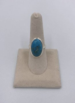 Sterling Silver Big Oval Turquoise Stone Ring Size 8