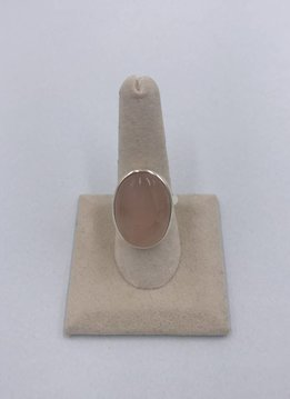 Sterling Silver Big Oval Rose Quartz Stone Ring Size 8