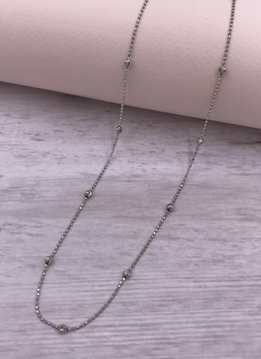 Italian Sterling Moon-cut Bead 20 inch Necklace