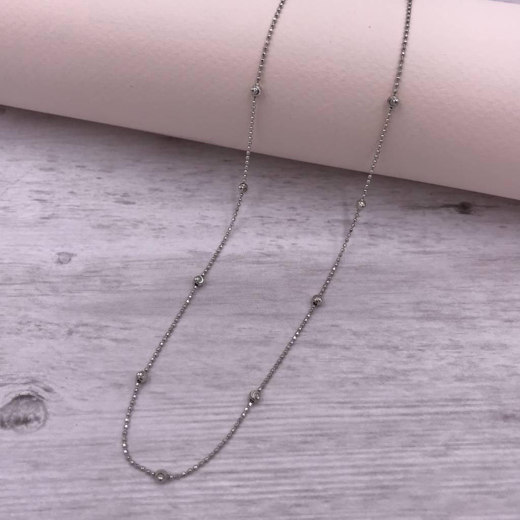 Italian Sterling Moon-cut Bead 20 inch Necklace