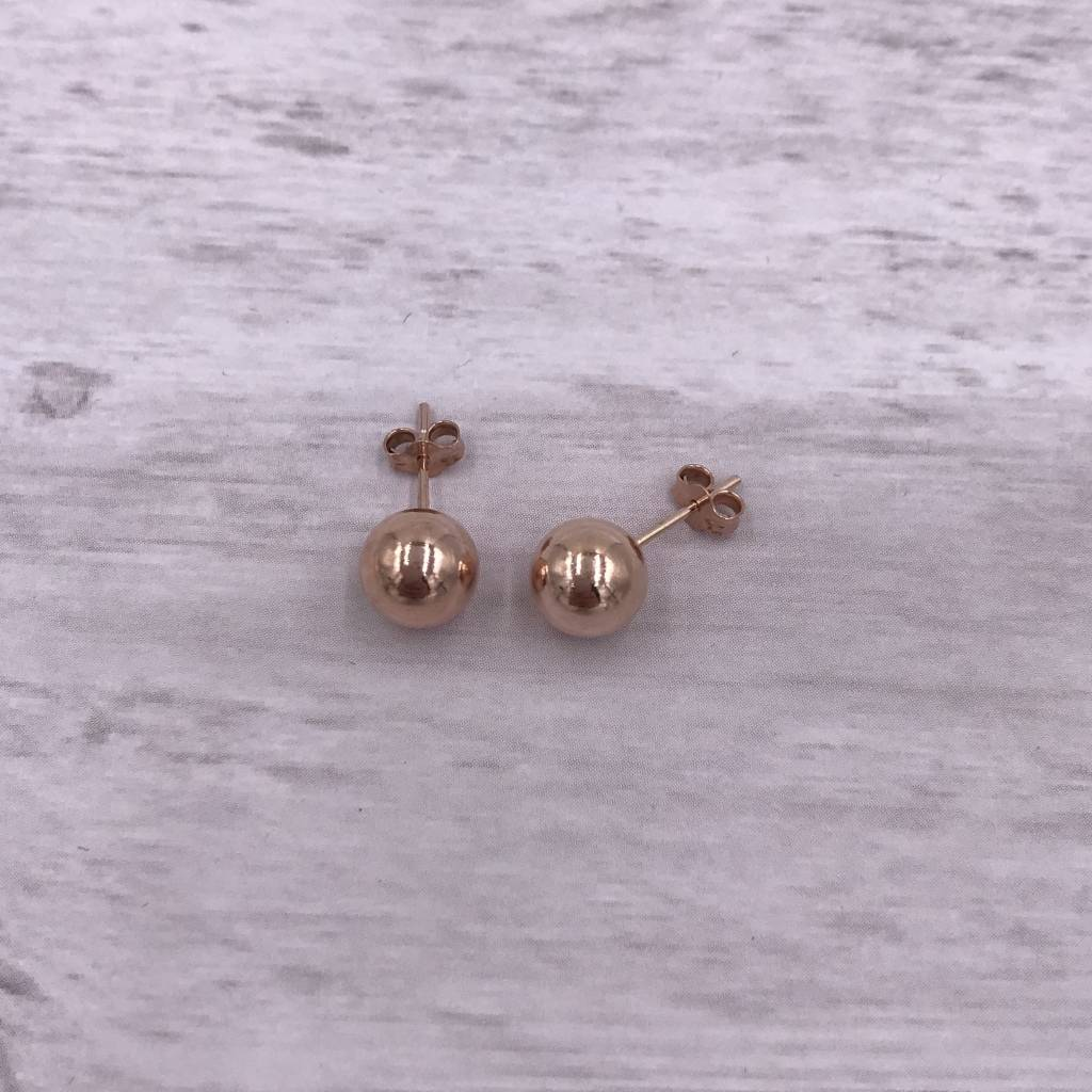 Qualita in Argento Italian Sterling Rose Gold Plated Stud 8mm Ball Earrings