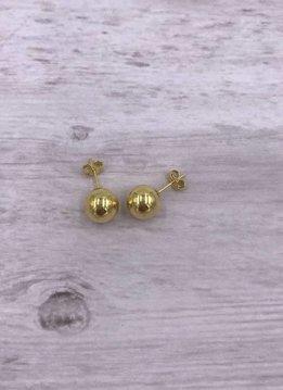 Italian Sterling Gold Plated Stud 9mm Ball Earrings