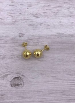 Qualita in Argento Italian Sterling Gold Plated Stud 9mm Ball Earrings
