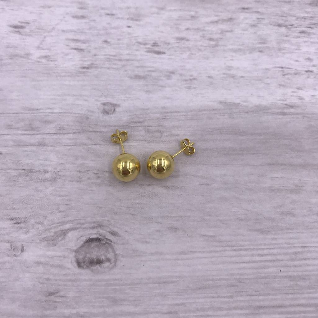 Italian Sterling Gold Plated Stud 9mm Ball Earrings