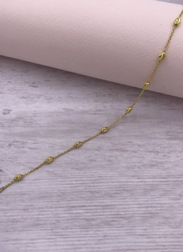 Italian Sterling Gold Plated Moon-cut Bead Anklet