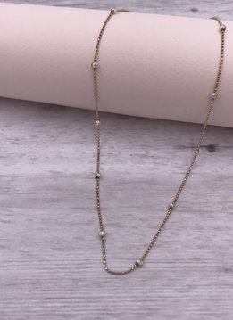 Italian Sterling Rose Gold Moon-cut Bead 20 inch Necklace