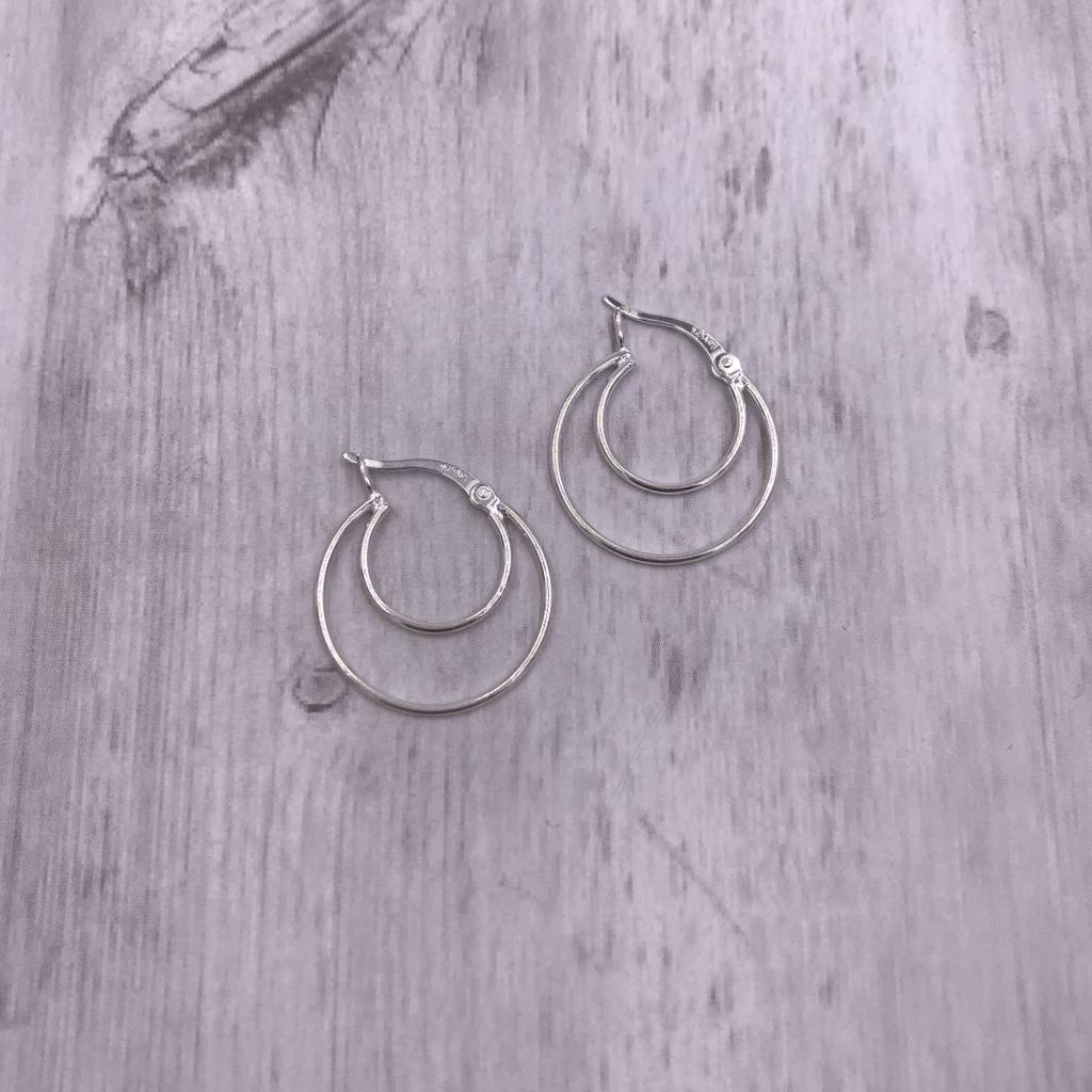 Italian Sterling Silver Double Layered Hoops