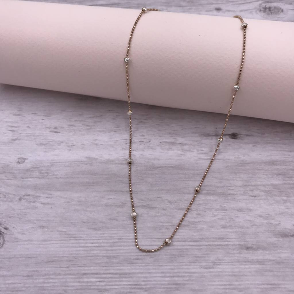 Italian Sterling Rose Gold Moon-cut Bead 18 inch Necklace