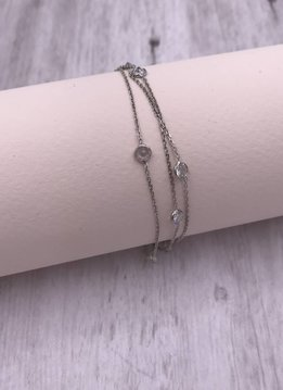 Italian Sterling Silver Three Strand Bracelet with Cubic Zirconia