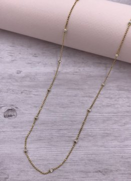 Italian Sterling Gold Moon-cut Bead 24 inch Necklace