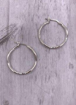 Italian Sterling Silver Medium Wavey Hoop Earrings