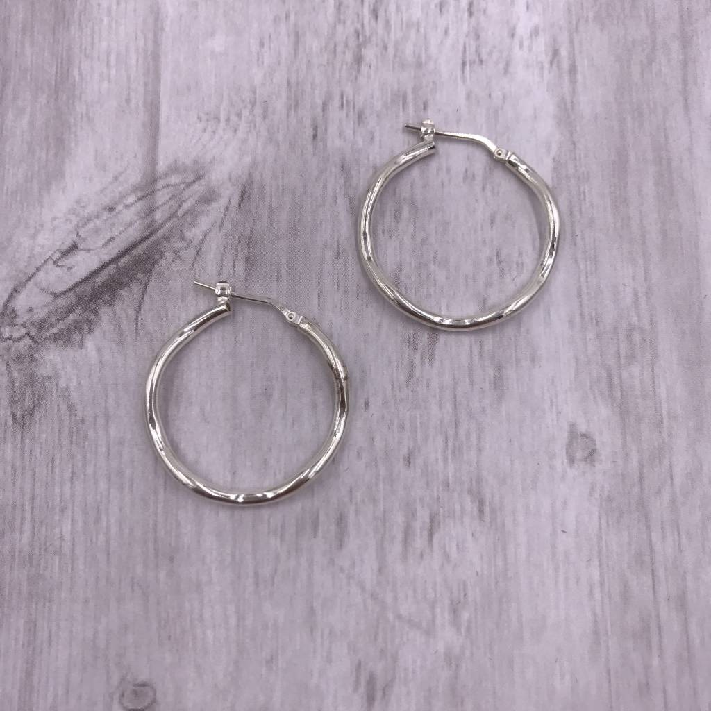 Italian Sterling Silver Medium Wavey Hoop Earrings