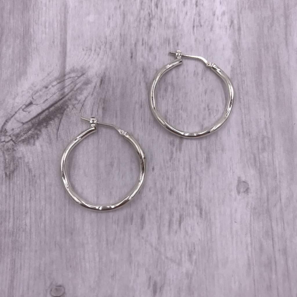 Qualita In Argento Italian Sterling Silver Medium Wavey Hoop Earrings