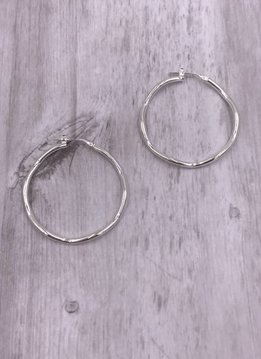 Italian Sterling Silver Large Wavey Hoop Earrings