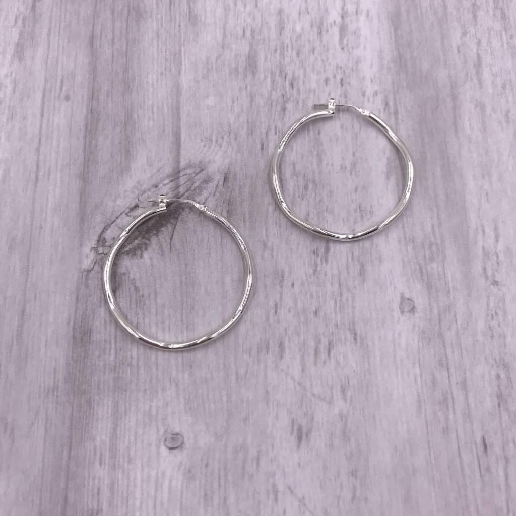 Italian Sterling Silver Large Wavey Hoop Earrings