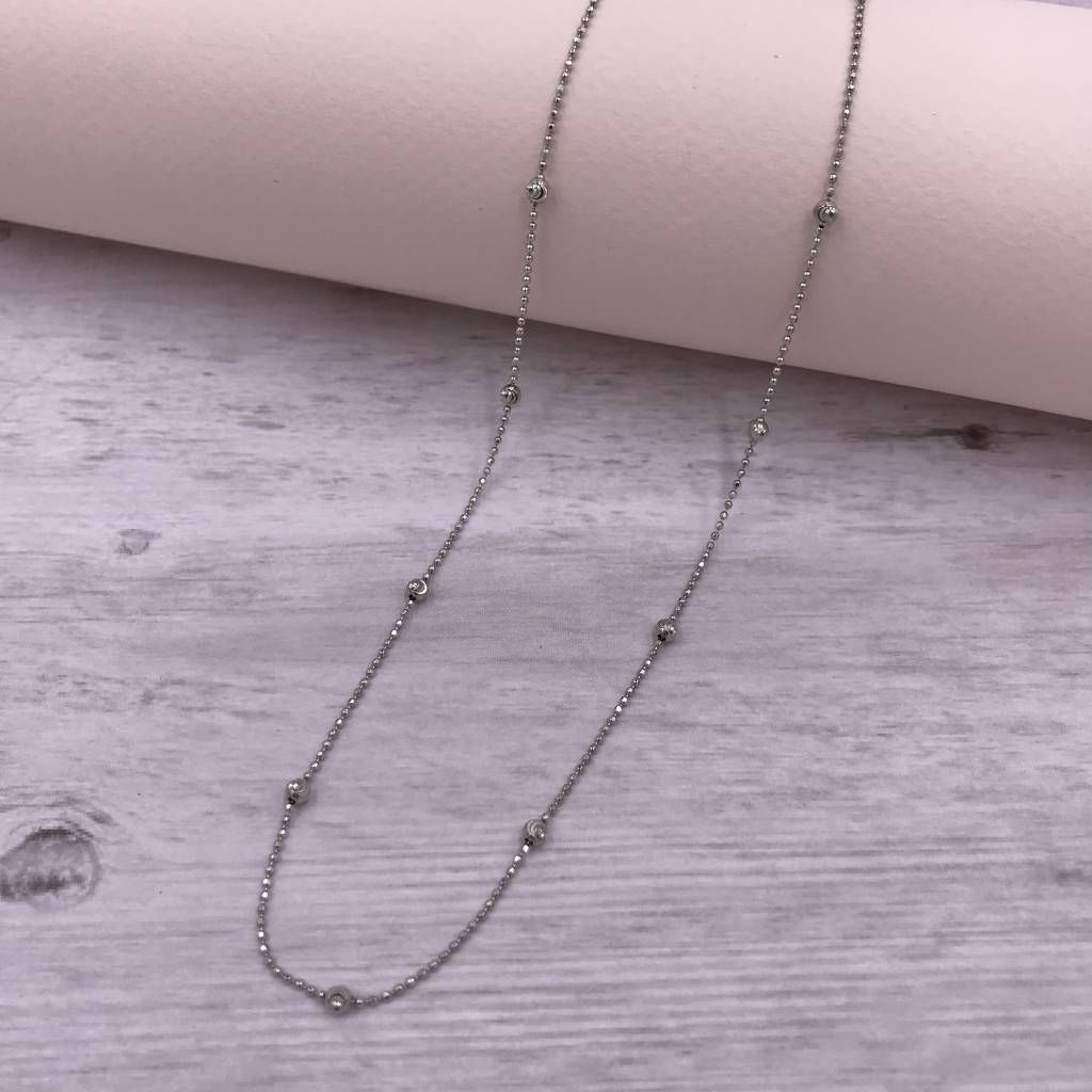 Italian Sterling Moon-cut Bead 18 inch Necklace