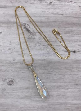 Gold Long Necklace with AB Tear Drop Crystal Pendant