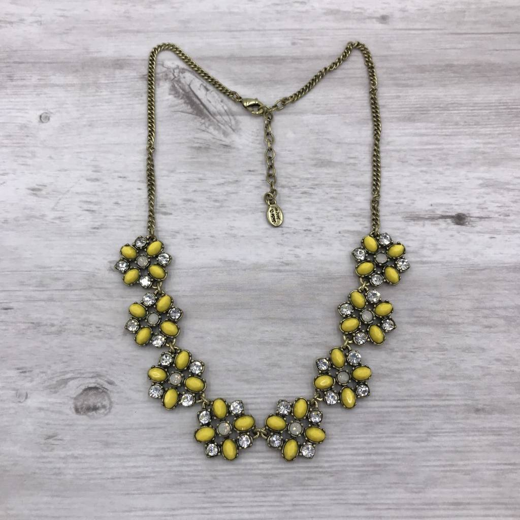 Yellow and Rustic Gold Flower Statement Necklace