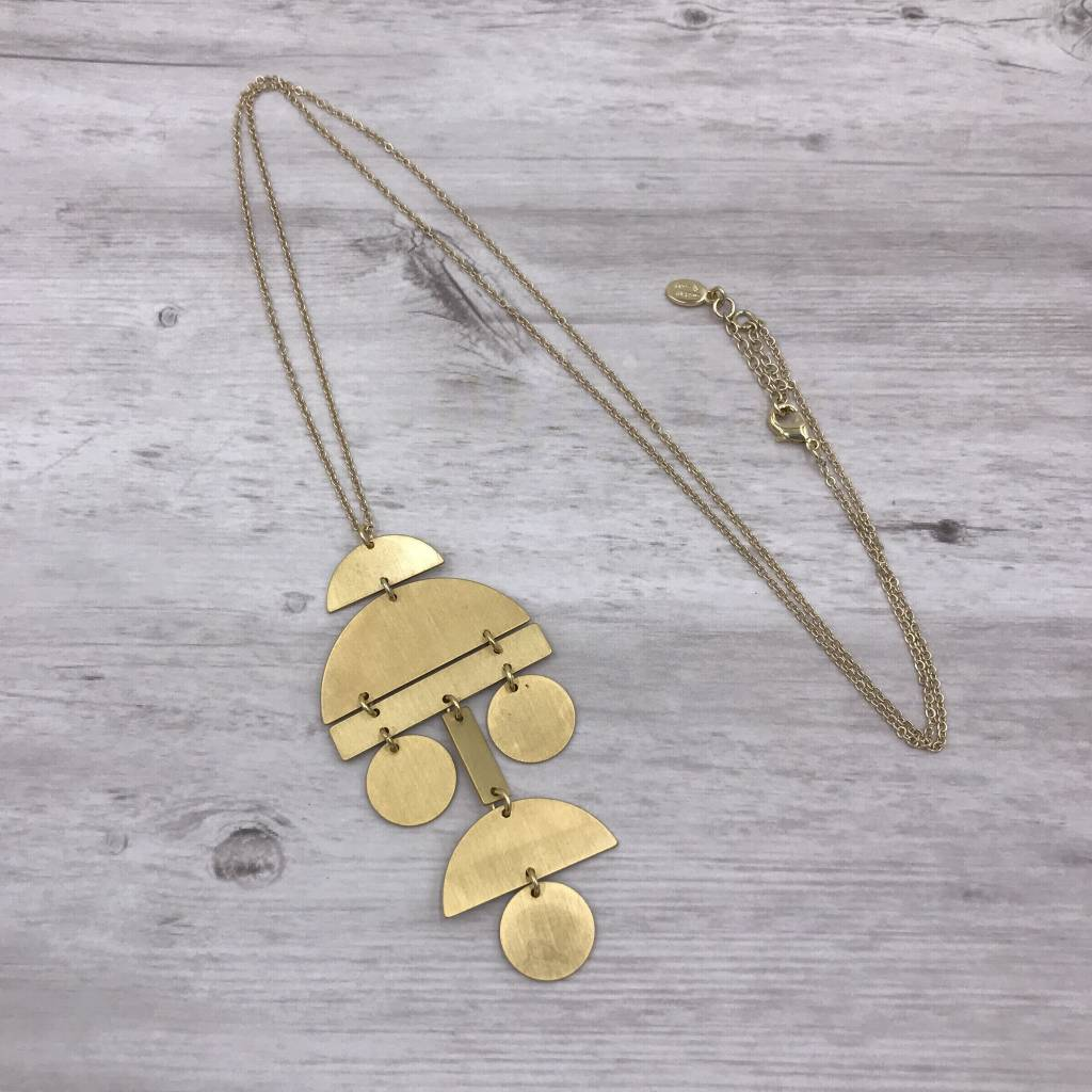 Gold Long Necklace with Geometric Pendant