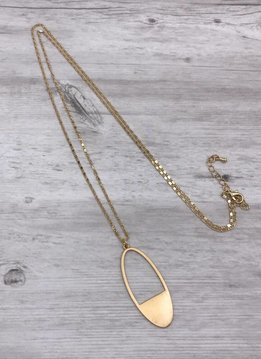 Gold Long Necklace with Oval Pendant
