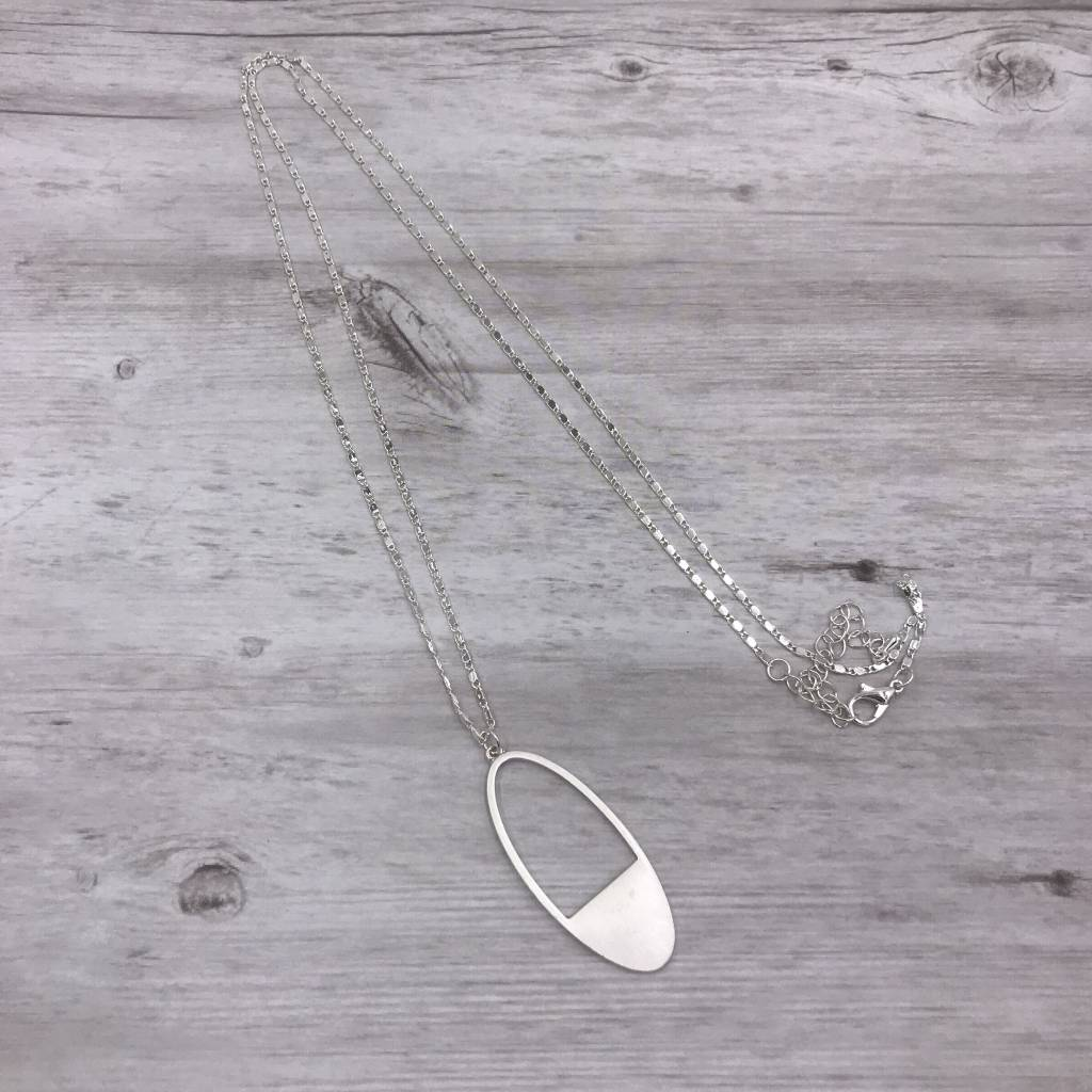 Silver Long Necklace with Oval Pendant