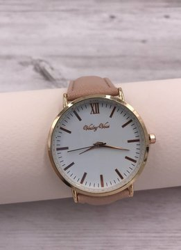 Rose Gold Rimmed Watch Face with Blush Faux Leather Strap