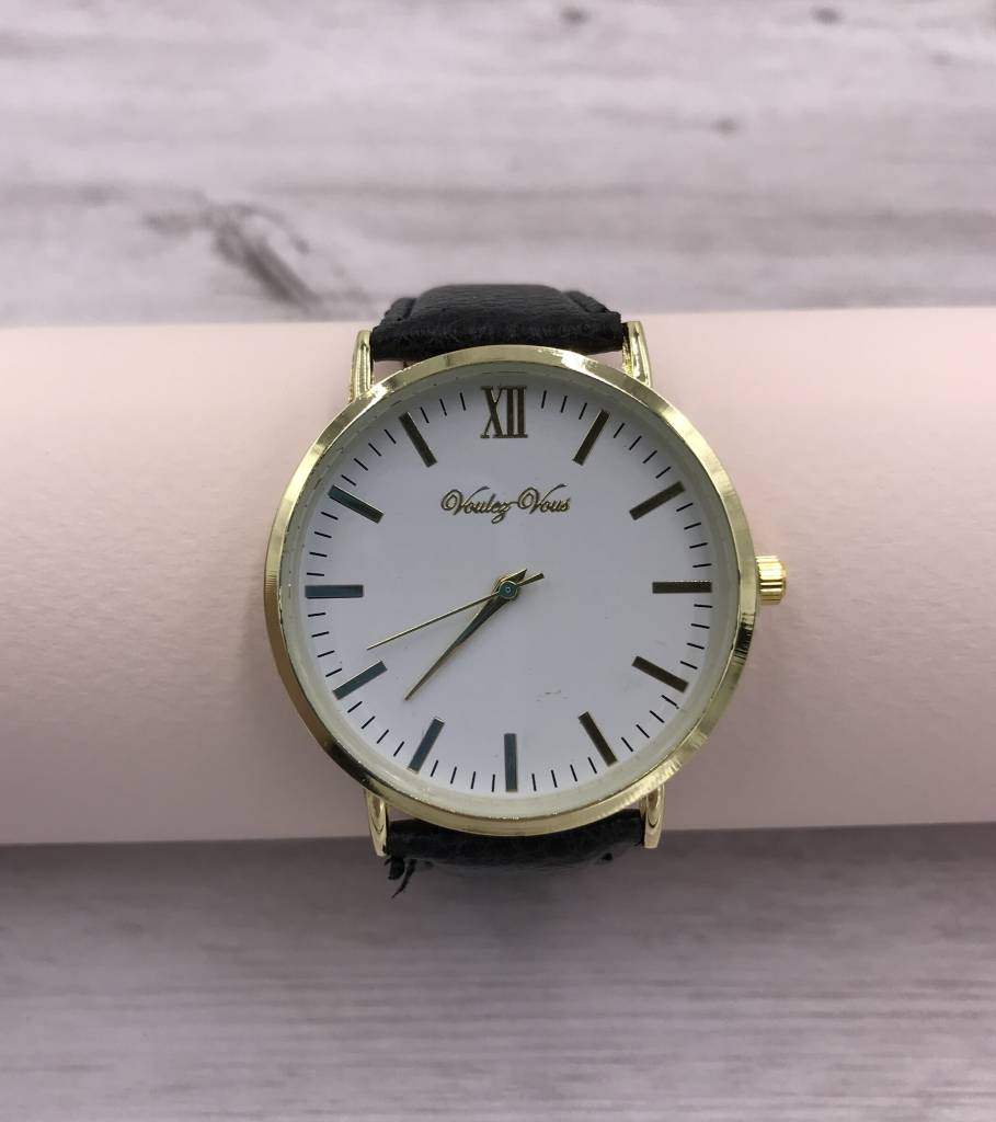 Gold Rimmed Watch Face with Black Faux Leather Strap