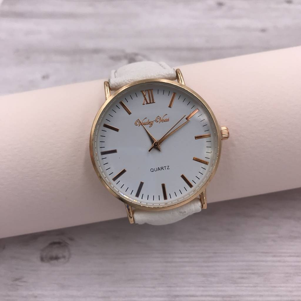Rose Gold Rimmed Watch Face with White Faux Leather Strap