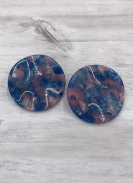 Blue and Purple Marbled Round Wavey Earrings