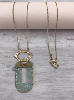 Gold Long Necklace with Mint U Shaped Pendant