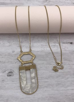 Gold Long Necklace with White U Shaped Pendant