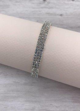 Silver and Clear Rhinestone Cuff Bracelet