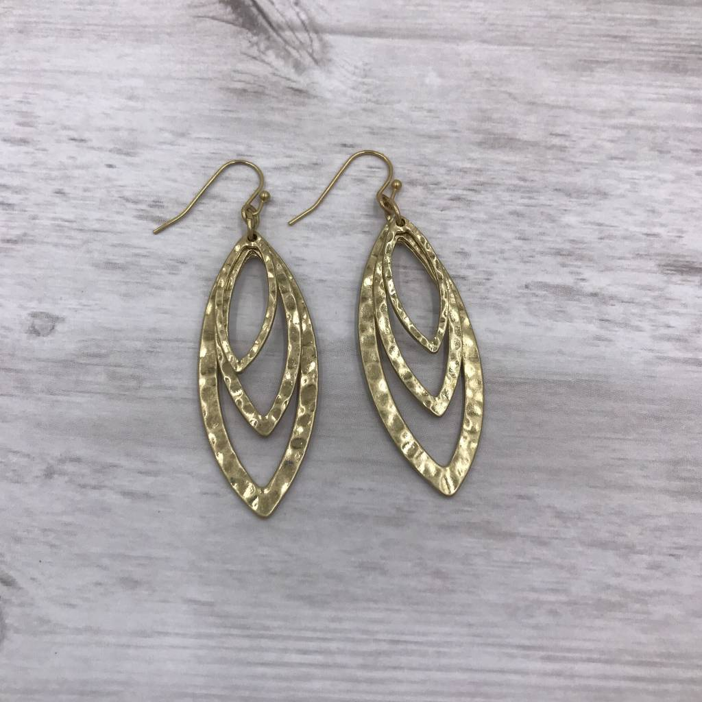 Gold Hammered Multi-Layered Marquise Dangling Earrings