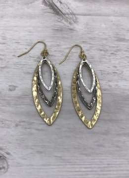 Gold, Black, and Silver Hammered Multi-Layered Marquise Dangling Earrings