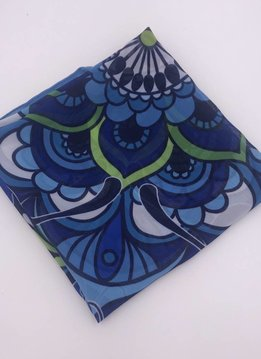 Polyester Blue Butterfly Square Scarf