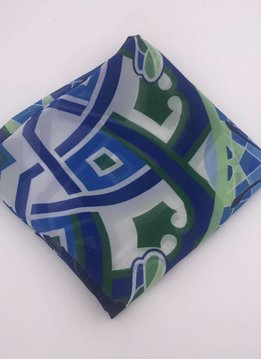 Polyester Blue and Green Square Scarf