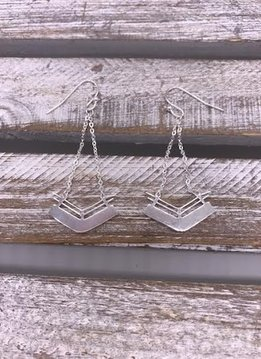 Stainless Steel Silver Geometric Chevron Dangle Earrings