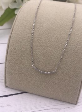 Italian Sterling Silver Cubic Zirconia Curved Bar Necklace