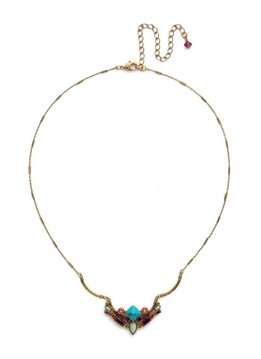 Sorrelli Antique Gold Cassia Necklace in Botanical Brights