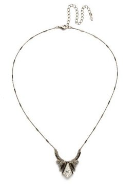 Sorrelli Antique Silver Perfect Symmetry Necklace in Clear Crystal