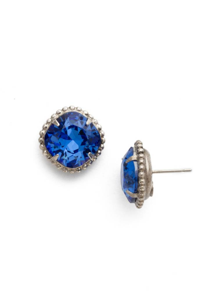 Sorrelli Antique Silver Cushion-Cut Solitaire Earring in Sapphire
