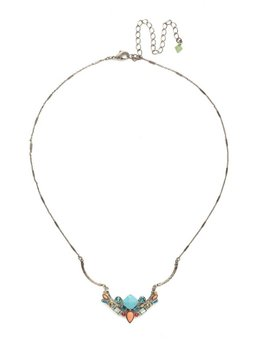 Sorrelli Antique Silver Cassia Necklace in Vivid Horizons