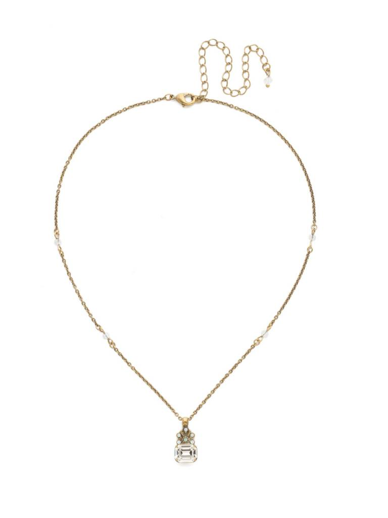 Sorrelli Antique Gold Crowning Glory Pendant Necklace in White Magnolia