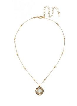 Sorrelli Antique Gold Allium Necklace in White Magnolia