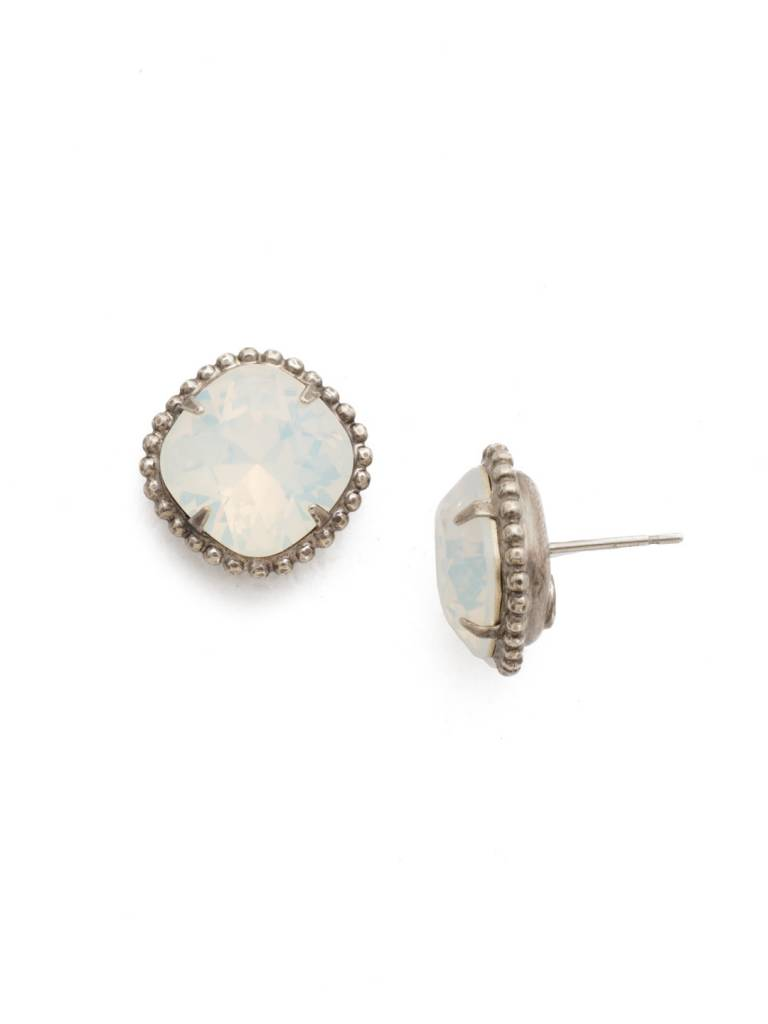 Sorrelli Antique Gold Cushion-Cut Solitaire Earring in White Opal