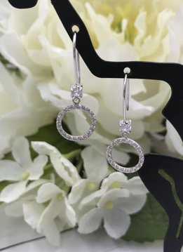 Qualita in Argento Italian Sterling Silver Cubic Zirconia Circle Earrings