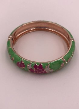 Thick Green and Pink Flower Bangle on Rose Gold