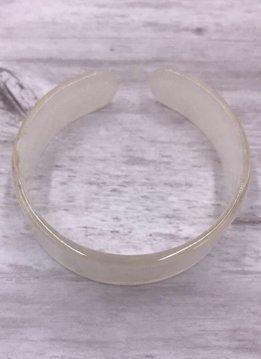 White Acetate Thick Bangle Bracelet